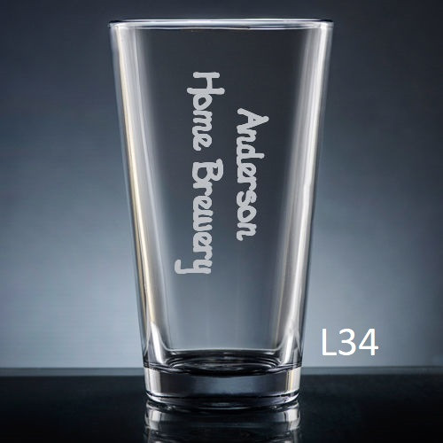 Colima Pint  Glass - 10 fonts