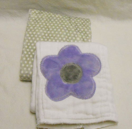Lavender Flower and Gray Polka Dot Minky Burp Cloth Set