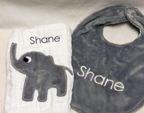 Elephant Burp and Gray Polka Dot Bib Set