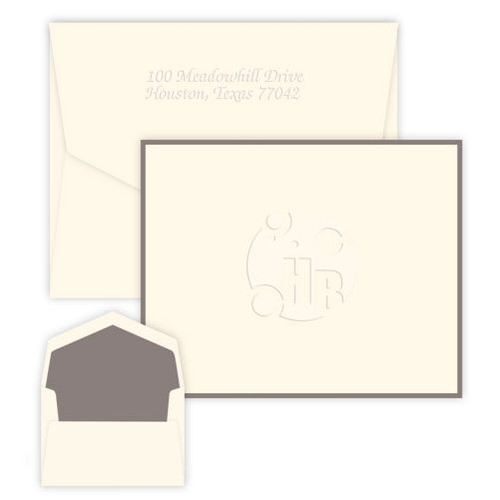 Your Logo Embossed and Bordered Folded Note