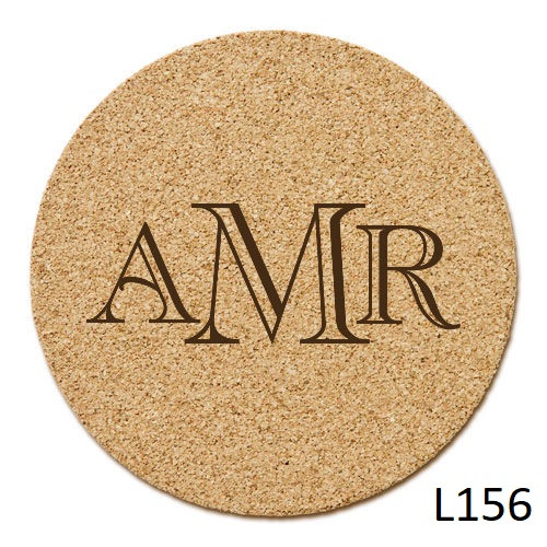 Reynosa Monogram Cork Coaster Set -6 Fonts