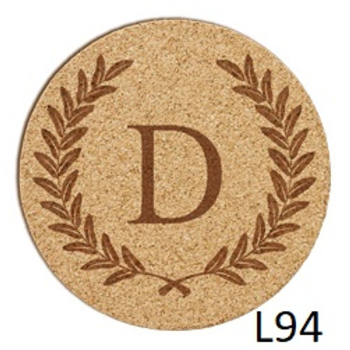 Laurel Wreath Cork Coaster Set -3 Fonts