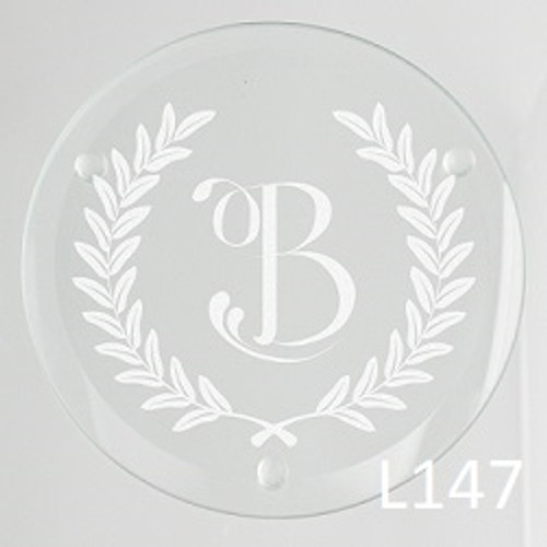 Laurel Wreath Glass Coaster Set -3 Fonts