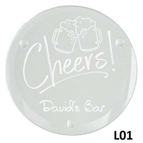 Cheers Glass Coaster Set - 10 Fonts