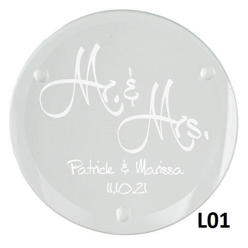 Mr.& Mrs. Glass Coaster Set - 5 Fonts