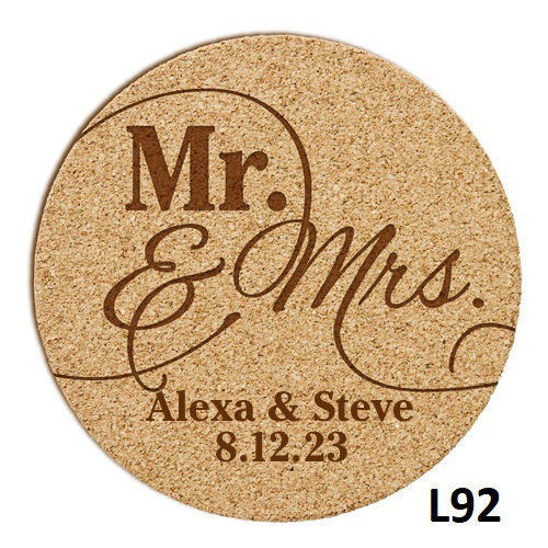 Modern Love Cork Coaster Set - 5 Fonts