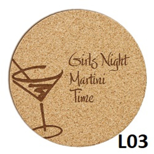 Martini Cork Coaster Set - 4 Fonts