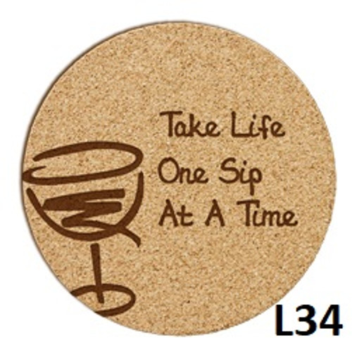Wine Cork Coaster Set - 4 Fonts