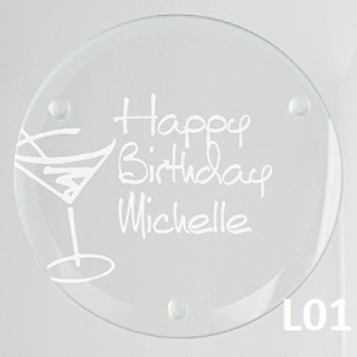 Martini Glass Coaster Set - 4 Fonts