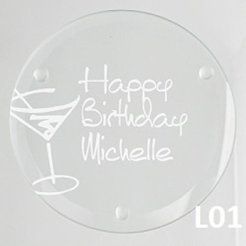 Martini Glass Coaster Set - 4 Fonts