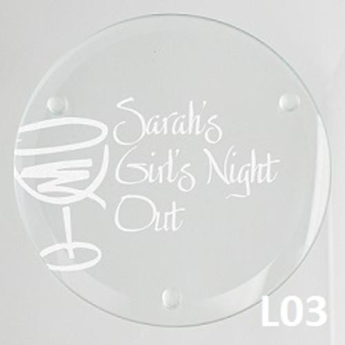 Wine Glass Coaster Set - 4 Fonts