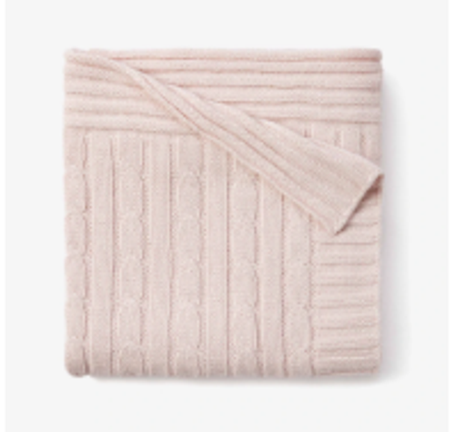 Chalk Pink Cable Knit Blanket
