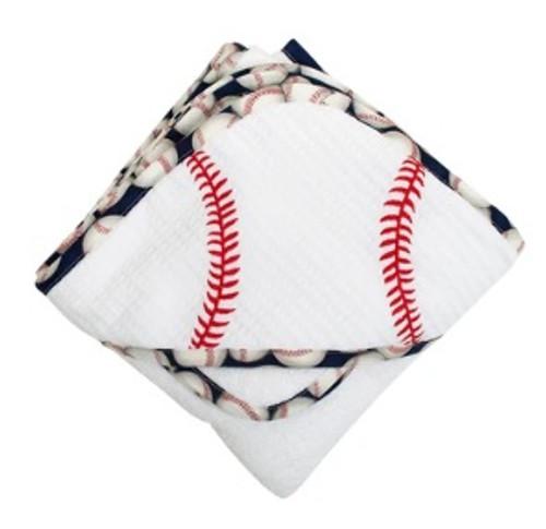 Baseball Hooded Towel & Washcloth Set