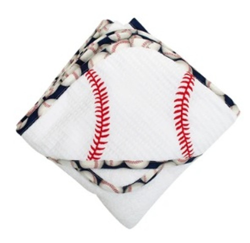 Baseball Hooded Towel & Washcloth Set