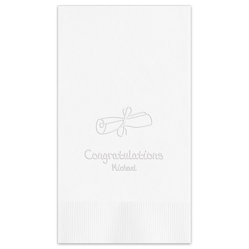 Embossed Graduation Guest Towel