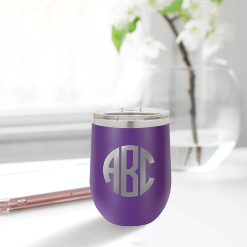Circle Monogram 12 Ounce Tumbler - multiple colors