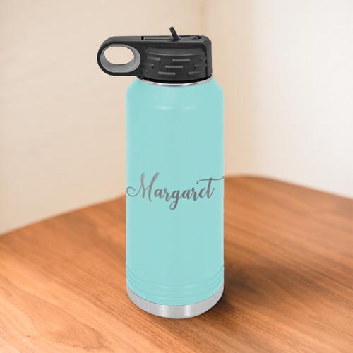 Cursive Name 32 Ounce Water Bottle- multiple colors