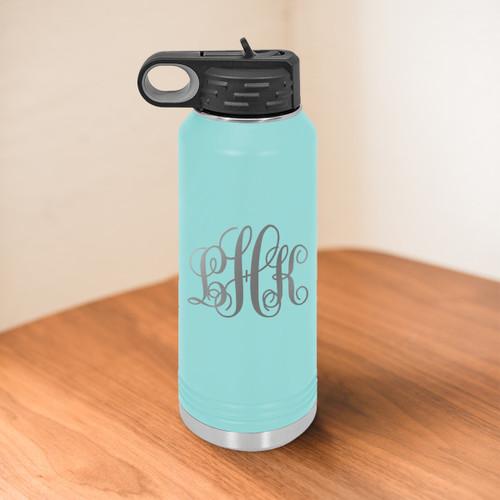 Cursive Monogram 32 Ounce Water Bottle- multiple colors