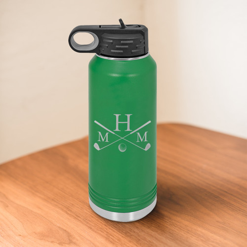 Golf Monogram 32 Ounce Water Bottle - multiple colors