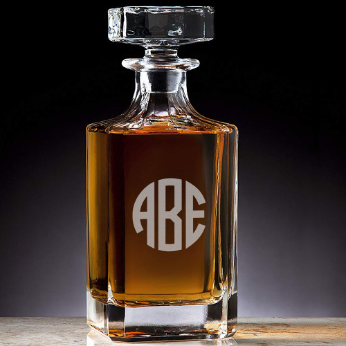 Classic Custom Engraved Crystal Circle Monogram Decanter
