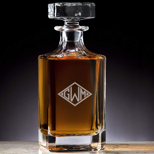 Classic Custom Engraved Crystal Diamond Monogram Decanter