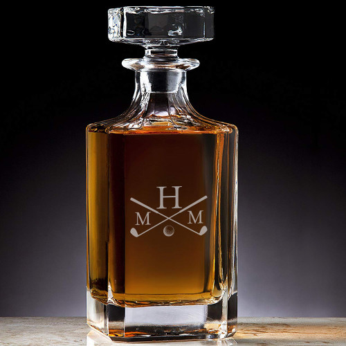 Classic Custom Engraved Crystal Golf Decanter