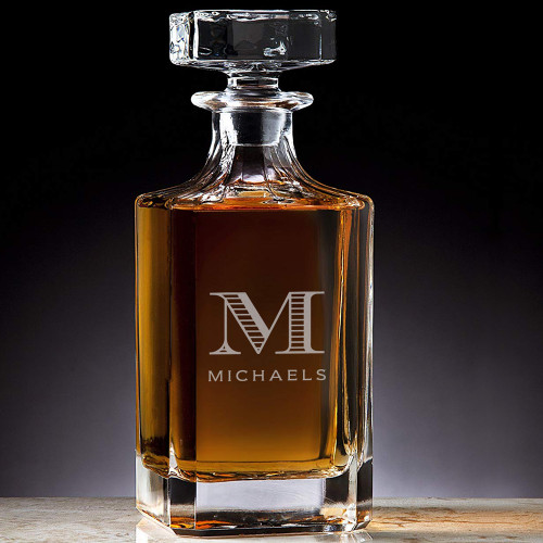 Classic Custom Engraved Crystal Michael Initial Decanter