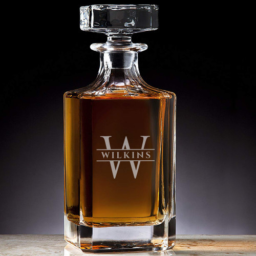 Classic Custom Engraved Crystal Wilkins Initial Decanter