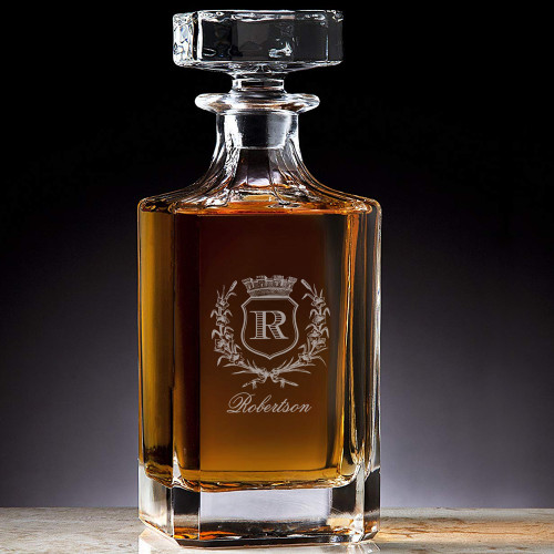 Classic Custom Engraved Crystal Robertson Initial Decanter