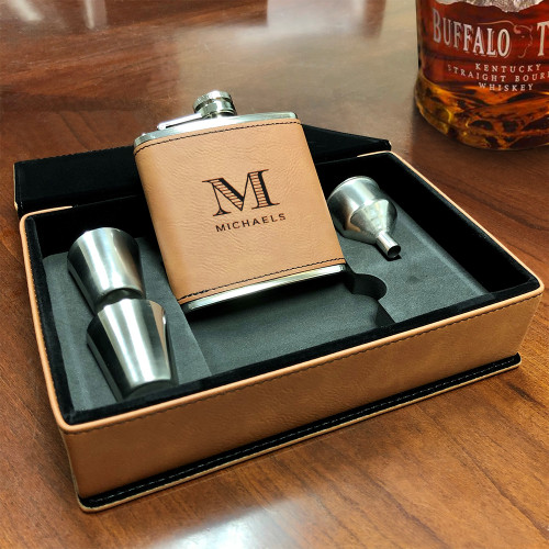 Tan Brown Vegan Leather Flask Gift Set