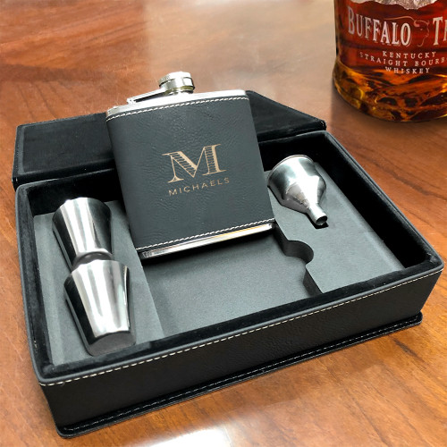 Black  Vegan Leather Flask Gift Set