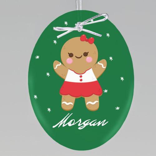 Gingerbread Girl Keepsake Ornament - Oval