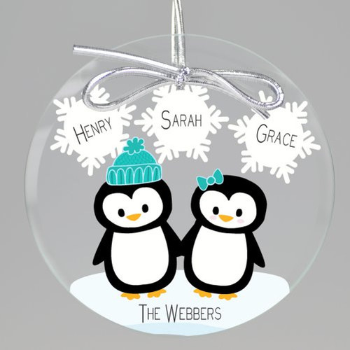 Penguin Love Keepsake Printed Ornament