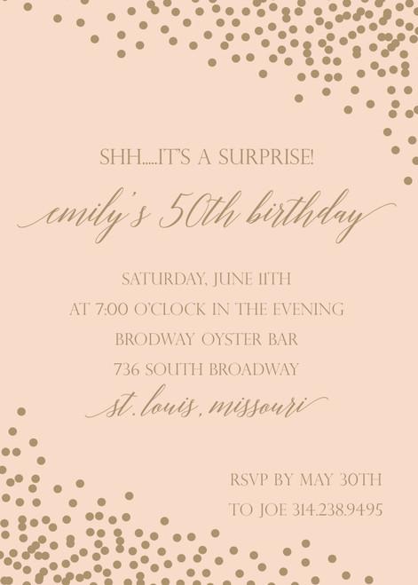 Gold Confetti on Peach Birthday Invitation