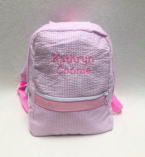 Pink Seersucker Small Backpack