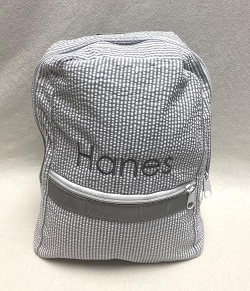 Gray Seersucker Small Backpack