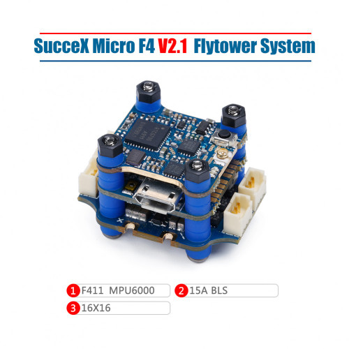 SucceX Micro F4 V2.1 15A 2-4S Flight Tower System (MPU6000,ESC Plugs)