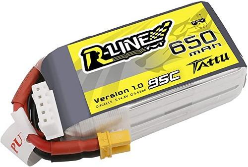 Tattu R-Line 4S 650mAh 95C | XT-30 FPV LiPo Battery 14.8 V