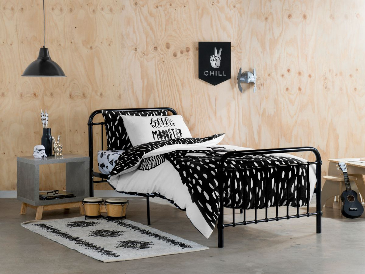 Sonata Bed King Single Black Kids Bedroom Furniture