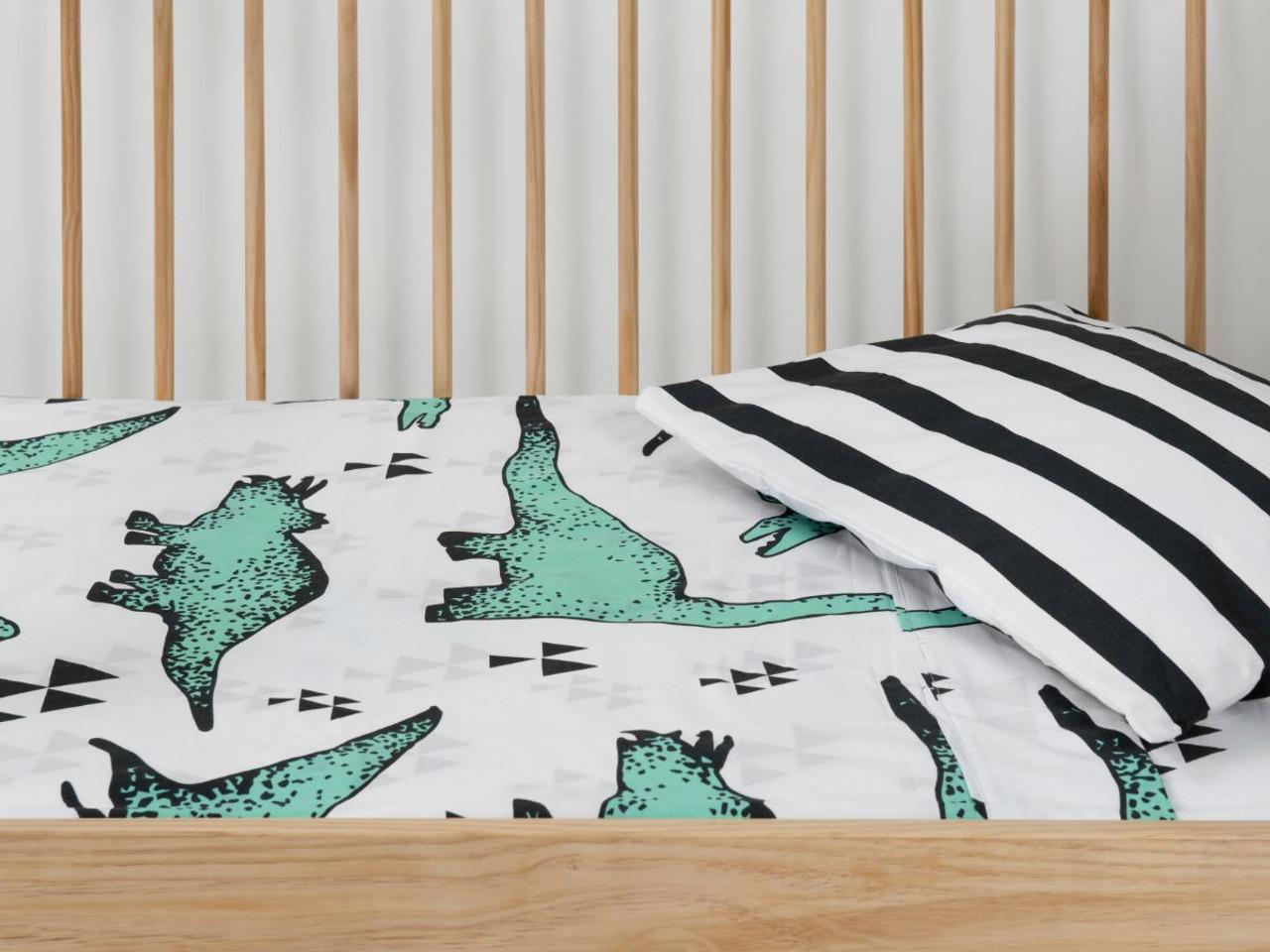 Dinosaur And Stripes Cot Sheet Set Cot Bedding Mocka Nz