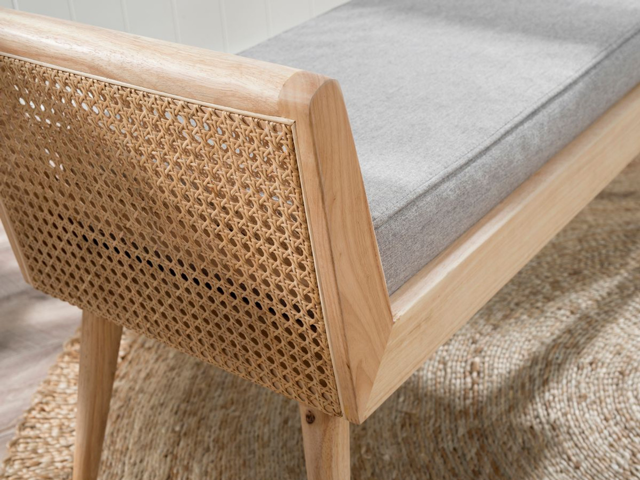 Mocka Innes Rattan Bench Seat Grey Home Furniture