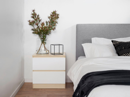 Jolt Bedside Table - Natural / White
