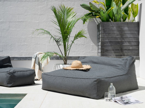 Lizzie Double Bean Bag Cover - Grey