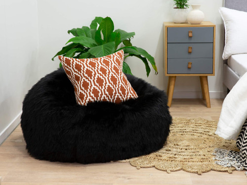 Immy Faux Fur Bean Bag Cover Black