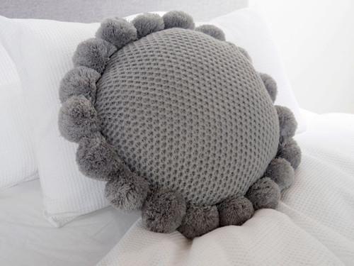 Pom Pom Cushion - Grey