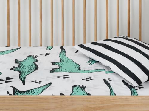 Dinosaur and Stripes Cot Sheet Set