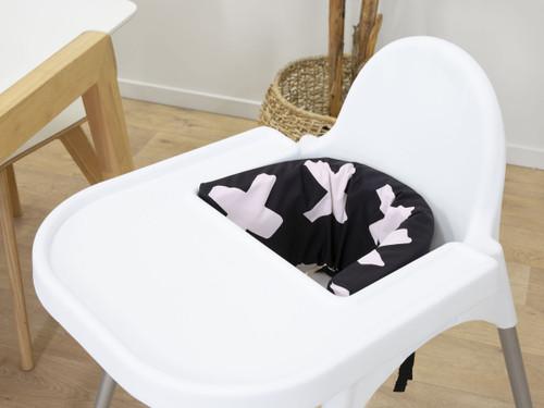 Designer Highchair Insert Cover - Powder Pink Cross