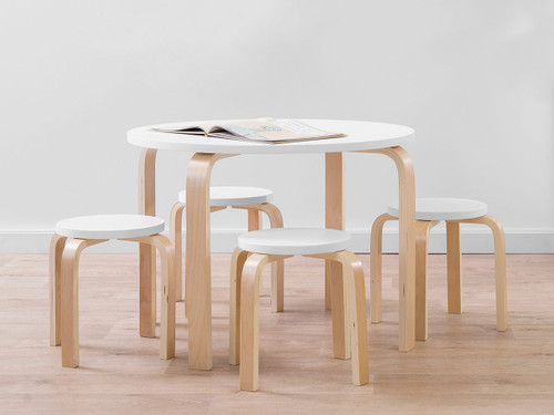 Hudson Kids Table and Stools - White/Natural