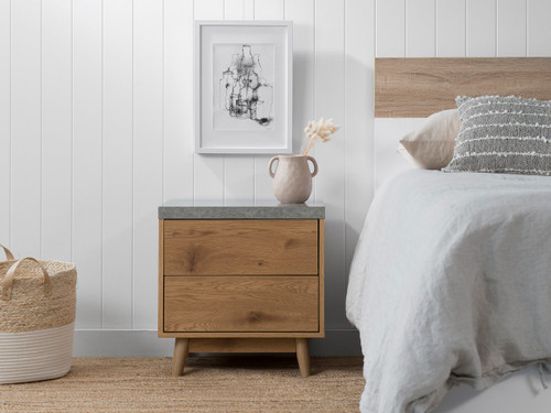 Nava Two Drawer Bedside Table