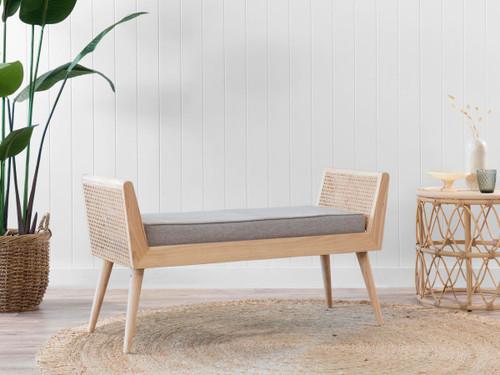 Innes Rattan Bench Seat - Grey